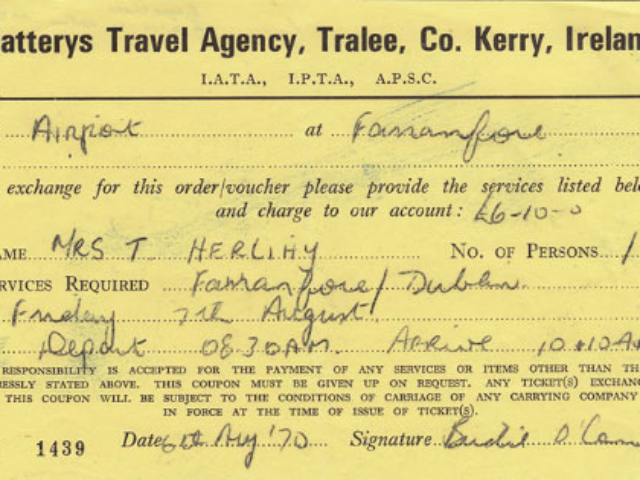 Air ticket to Dublin, issued by Slattery Travel in August 1970.