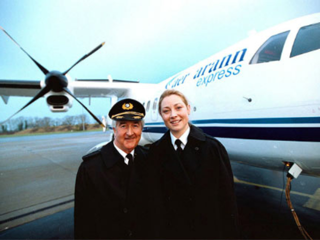 Captain Paddy Moriarty and first officer Kim Tyrell prior to the first Aer Arann flight in 2001.