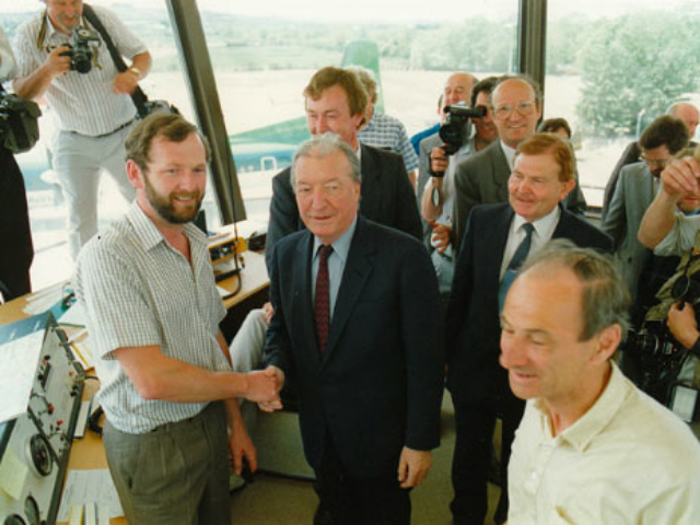 Charles Haughey, then Taoiseach, at the official opening of Kerry Airport in May 1989.