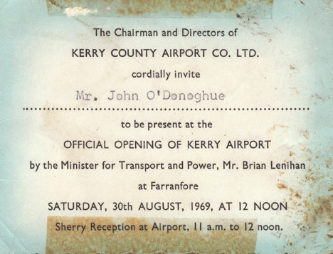 Invite to the official opening of Kerry Airport.