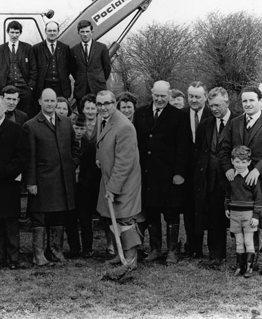 Tom Ryle, Chairman, Kerry Airport, turns the first sod on 14 March 1969.